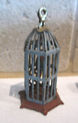 Antique German Miniature Doll House Penny Toy Tin Bird Cage