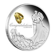 2018 Congratulations On Your Wedding 1oz Silver Proof Coin A Beautiful Gift