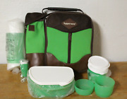 Tupperware Lunch Set Insulated Bag Snack Cups Stackable Water Bottle Green New