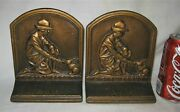 Antique Us Cast Iron Girl Scout Rabbit Camp Camping Art Statue Bookends Bronze