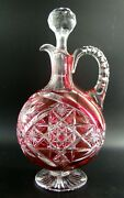 Magnificent French Baccarat Crystal Decanter With Stopper Red Cut To Clear C1900