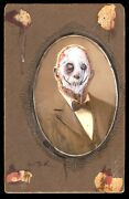 Gus Fink Original Painting Horror Goth Mr. Skinless On Antique Photograph