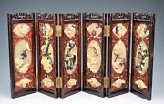 Antique Chinese Jade And Hardstone Inlay Six Panel Table Screen