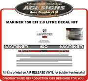 Late 90and039s Mercury Mariner 150 Hp 2.0 Litre Outboard Decal Kit Reproductions