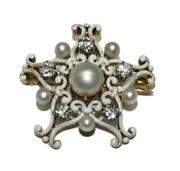 Antique Victorian 18k Yellow Gold And Enamel Diamond And Pearl Broach Or Pendant