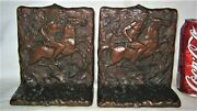 Antique Usa Judd 9844 Indian Horse Hunting Cast Iron Arts Crafts Book Bookends