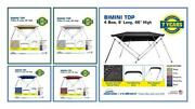 Bimini Top Boat Cover 4 Bow 8ft. Long 46 And 54 High Solution Dye Fabric/canvas