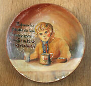 Russia Elizabeth Bem Motive Russian Vintage Hand Painted Clay Plate Rare 1946