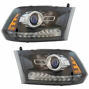 Black Bezel Projector Headlight Lamp Assembly Pair Lh And Rh Sides For Ram Truck