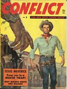 Conflict 7 2/1956-george Gross Gunfight Cover-cheesecake-pulp Thrills-vg