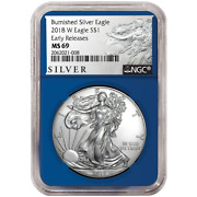 2018-w Burnished 1 American Silver Eagle Ngc Ms69 Als Er Label Blue Core