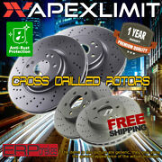 Front And Rear 4 Cross Drilled Rotors For 2008-2013 Infiniti G37 W/sport Package