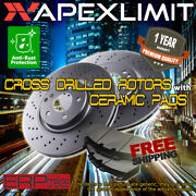 Front Cross Drilled Rotors And Pads For 2003-2011 Lincoln Town Car