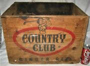 Antique Mass Country Club Ginger Ale Soda Wood Art Box Crate Lady Golf Club Sign