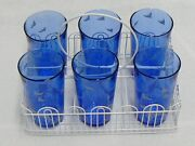 Set Of 6 Cobalt Blue Water Glasses Hunting Dogs Scene With Carrier
