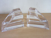 Vintage Sevres France Crystal Contemporary Mid Century Bookends