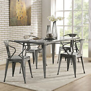 Industrial Modern Farmhouse Metal 59.5 Kitchen Cafe Dining Table In Gunmetal