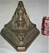 Antique Usa Bronze Clad Truth Law Office Art Nouveau Lady Woman Inkwell Pen Tray