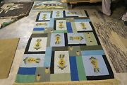 Vintage Primitive Antique American Hand Made Hooked Rug Wool 4and0393 X 6and0394 Pineapple