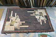 Antique Vintage American Primitive Wool Hand Hooked Rug 3and039 X 5and039 Art Deco