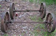 2 Us Antique Country Yard Art Steampunk Cast Iron Garden Farm Tractor Axel Wheel