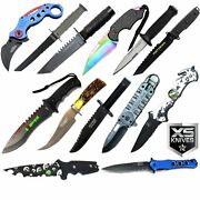 13pc Lot Tactical Full Tang Fixed Blade Spring Assisted Folding And Karambit Knife