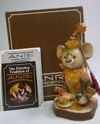 Anri Party Time 5 Hand Carved Wood Figurine By Sarah Kay - Mint In Box
