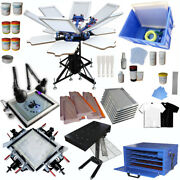 6 Color Full Set Screen Printing Kit 6 Color 6 Station Screen Platen Rotating Us