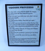 Yiddish Proverbs, 8 X 10 Framed Sign, Witty, Traditonal And Woody Allen, Einstein