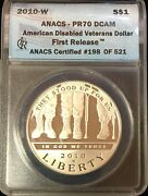 2010-w 1 American Disabled Veterans Silver Dollar Anacs Pr70dcam First Release