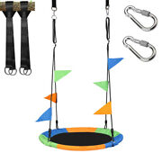 40 Flying Saucer Tree Swing Childrenand039s Multi-color Rainbow Swing Easy Install