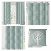 Duck Egg Eyelet Curtains Woodland Trees Ready Made Lined Ring Top Curtain Pairs