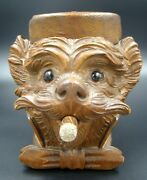 19th Century Terrier Dog Black Forest Hand Carved Tobacco Jar Glass Eyes