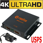 Powered 4k Hdmi Splitter 1x2 1 In 2 Out V1.4 Amplifier 1080p 3d, Connect 2 Tvs