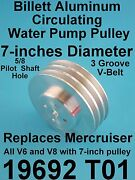 Water Pump Pulley Aluminum Mercruiser Replaces 19692 7 Dia 3 Groove V6 V8