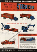 1951 Paper Ad 2 Pg Structo Toy Trucks Wind Up Wrecker Tow Truck Transport Fire
