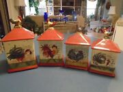 Susan Winget Cic Set Of 4 Rooster Canisters W/covers