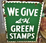Antique Usa Double Porcelain Sided Sandh Green Stamps Food Grocery Store Art Sign