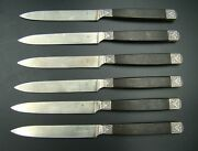 French Sterling Silver Ebony Handle 6 Lunch Knives Gustave Leroy And Cie Ca 1890