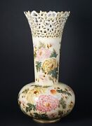 Large Early Zsolnay Pecs Hand Painted Vase Reticulated Floral Mums Decor- - A