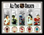 Nhl Greatest Howe-orr-gretzky-lemieux-richard 11x14 Arena Seat And Game Used Stick