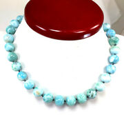 18 Natural Large Blue Larimar Beads W/14k Gold Flower Clasp Necklace Free Shipp