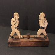 Rare Antique Folk Art 1900 Boxing Wooden Hand Toy Push Button Boxers Handmade