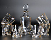 Whiskey Decanter With 6 Glasses Luxury Gold, Lead-free Free Shipping