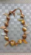 Natural Shell Carnelian Gold Filled Clasp Brown And Rust Colored Necklace