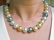12mm-14.5mm Multi Color South Sea Baroque Pearl Necklace 18k Gold Italian Clasp