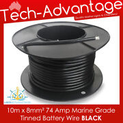 10m X 8mmandsup2 Black 74a Marine Winch Heavy-duty Battery Tinned Copper Wire - 8 Bands