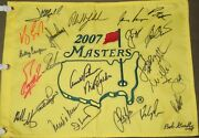Jack Nicklaus Arnold Palmer Spieth Mickelson + Signed '07 Masters Champions Flag