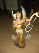 Native American Warrior Collectible Indian Decoration Figurine Statue Dancing