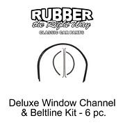 1947 1948 1949 1950 Chevy And Gmc Deluxe Window Run Channel And Beltline Kit - 6 Pc.